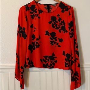 Vince Camuto Red Floral Blouse M
